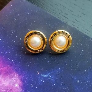 Authentic Chanel pearl face button studs